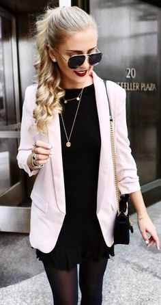 beautiful office style / blazer + little black dress + bag