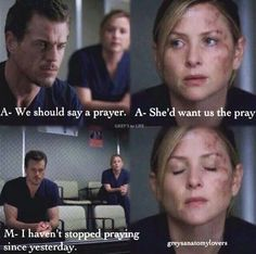 Arizona Robbins and Mark Sloan praying for Callie and her baby | Grey's Anatomy quotes
