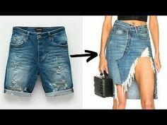 Denim Fashion, Look Fashion, Vintage Windbreaker Jacket, Redo Clothes, Fashion Terms, Destroyed Jeans, Refashion, Denim Skirt, Ideias Fashion