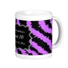 Sweet 16 Black and Purple Zebra Pattern Mugs