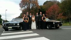 Mustangs in Black 1966 Shelby GT350 and 1966 GT Convertible Ford Mustangs out for a wedding.