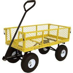Sunnydaze Utility Steel Garden Cart, Outdoor Lawn Wagon with Removable Sides, Heavy-Duty 400 Pound Capacity, Yellow Garden Wagon, Wheelbarrow Garden, Bags Of Mulch, Yard Cart, Folding Wagon, Utility Cart, Steel Mesh, Paris, Lawn And Garden