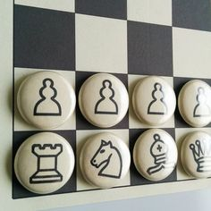 Fridge Magnet Chess: chess game whiteboard game by ParchmentMoon