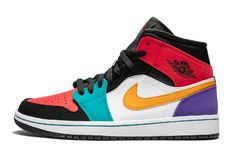 "52e29125376 Air Jordan 1 Mid ""Multicolor"" 554724-125 Jordan 1 Mid, Nike Air"