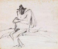 """Lorenzo Viani (Viareggio 1882- Ostia 1936),  """"Mendicante""""., 1936.   China su carta, cm. 34,5x41,4 Firma in basso a destra: L. Viani.  Casa d'aste Farsettiarte."""