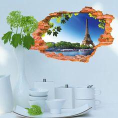 3D- Selbstklebende Abnehmbaren Durchbrechen Die Mauer Vinyl Wandsticker / Wandgemälde Kunst Aufkleber Dekorateur (Der Blaue Himmel (70cm * 90cm)): Amazon.de: Küche & Haushalt