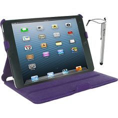 rooCASE Slim-Fit Folio Case w/ Stylus for iPad mini Purple - rooCASE Laptop Sleeves