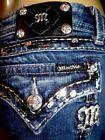 MISS ME silver/black sequin flap pocket EASY BOOT jeans-plus size 34 36 16/18