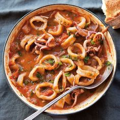 In the classic Italian dish Calamari Fra Diavolo, tender squid rings are smothered with a devilishly spicy tomato sauce.