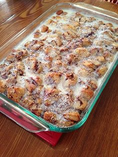 We eat this every year for Christmas morning. Cinnamon Roll casserole with Pillsbury cinnamon rolls. So easy and SO good..