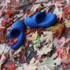 """Войлочные тапочки """"Осенняя синева"""" – купить в интернет-магазине на Ярмарке Мастеров с доставкой"""