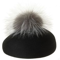 EUGENIA KIM Coco Fur Pom Beret (380 CAD) ❤ liked on Polyvore featuring accessories, hats, eugenia kim, fur hat, eugenia kim hat, pom pom hat and block hats
