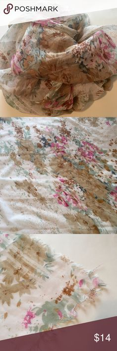 """French Floral Scarf See through floral scarf. Lots of color and beautiful! It is in excellent condition. The edges are intentionally frayed. Width is 34"""" and the length is 77"""". Bought in Paris, France!! Accessories Scarves & Wraps"""