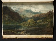 Joseph Mallord William Turner Title A Lake among Mountains, Perhaps Llyn Gwynant or Glydwr, with Snowdon among Clouds Beyond From Hereford Court Sketchbook Turner Bequest XXXVIII Date 1798 Medium Graphite on paper Sketchbook Inspiration, Art Sketchbook, Painting Inspiration, Turner Watercolors, Turner Painting, Joseph Mallord William Turner, Watercolor Landscape Paintings, Gravure, Les Oeuvres