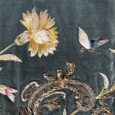 18th Century French Gilt work and Silk Embroidered Velvet Panel