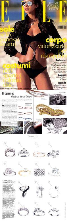 ❖Visto su #ELLE – Giugno2015❖ #Icon, #Color, #Giallo121, #Cashmere  |  #tennis #bracelets #trendy #jewelry #fashion #gold #valenza #crieri #vestiamodiamanti #tennispassion #tennisclub #glamour #chic #lifestyle