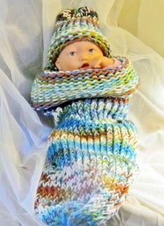 Unisex Loom Knitted Fiesta Baby Snuggie Cocoon