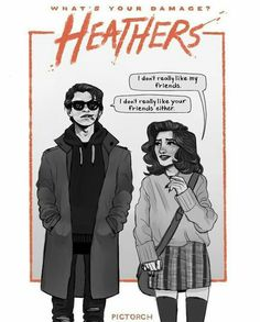 i love this art style but like- Movie or Musical? in the movie both ronnie and jd are dominant in the ways they act, Ronnie is never depicted as anxious or nervous. But in the musical, Ronnie is slightly more anxious. And fck the tv show Theatre Nerds, Musical Theatre, Beetlejuice, Heathers The Musical, Heathers Fan Art, Christian Slater, Dear Evan Hansen, Film Serie, Oeuvre D'art
