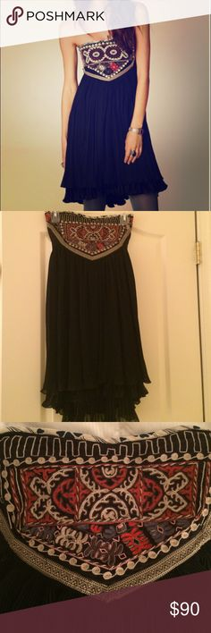 """Brand New w/o Tags Free People Serenissima Dress Never worn, new without tags Free People """"Serenissima"""" Dress. Older style than the model picture, see other pictures for actual dress. Strapless with an embroidered bodice, pleated and layered bottom. Gorgeous! Free People Dresses Strapless"""