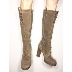 Michael Kors Lace Up Knee High Boots Suede knee high lace up boots size 6M by Michael Kors. Tan / Brown / Camel color. one of the metal lace loops are loose and the threading on the inner boot as shown. easy repair. Michael Kors Shoes Lace Up Boots