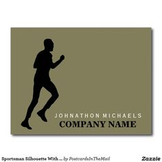 Sportsman Silhouette With Any Color Background Postcard