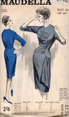 Maudella 5133 Vintage Sewing Pattern Asymmetric Wiggle Dress Side Draped Bust 40 Inches UNUSED Factory Folded