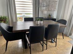 TABLE ORLÉANS - MERISIER - BRUNE CLAIRE - 72'' X 40'' X 2.5'' ÉPAIS - CHAISES MARVIN ET CHAISES DIXON CU009-5 #lusine #table #orleans #merisier #bruneclaire #chaise #marvin #dixon #cu0095 Dixon, Orleans, Marvin, Dining Chairs, Dining Table, Conference Room, Tables, Furniture, Home Decor