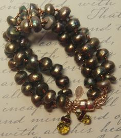 Hand knotted olive green fresh water pearl 3 strand and gold vermeil magnetic clasp bracelet Bracelet Clasps, Bracelets, Ornament Wreath, Fresh Water, Olive Green, Swarovski Crystals, My Etsy Shop, Pearls, Gold