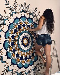 Mandala Art Lesson, Mandala Artwork, Mandala Drawing, Mandala Painting, Mandala On Wall, Mandala Canvas, Wall Painting Decor, Mural Wall Art, Wall Drawing
