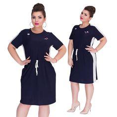 2018 Summer Dress Plus Size Women Clothing Short Sleeve Straight Casual Dress Large Women Dress 5XL 6XL Big Dress Vestidos – Women Shopping