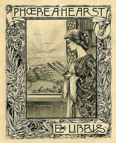 Bookplate of Phoebe A. Hearst Description: States, 'Ex Libris Phoebe A. Hearst;' depicts a woman reading a book while standing at an open window with a view of a distant landscape and the shining sun. Unsigned. Format: 1 print, col., 13 x 11 cm. Source: Pratt Institute Libraries, Special Collections 483 (sc00490)