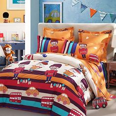 LOVO KIDS Travel in London 100 Cotton 300TC 4Piece Bedding Set 1x Duvet Cover 1x Flat Sheet 2x Shams Queen >>> Click image to review more details.