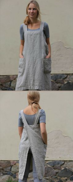 I have a passion for linen aprons. This japanese style cross over back has something about it that's so delightful. #aprons #linenapron #giftsformums #ad