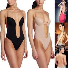 be25e400ab Backless Push Up Bra Deep Plunge Thong Full Body Shaper Clear Straps  Convertible Backless Body Shaper