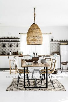 Beautiful pendant. Beautiful backsplash. Beautiful rug!