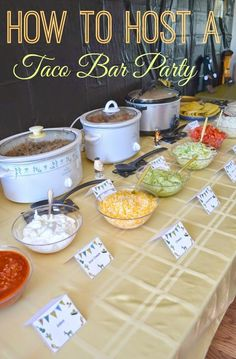 Puss in Boots Birthday Party ideas. How to Host a Taco Bar Party! Great for Taco Tuesday and gatherings. Use these free printable table tents to create a perfect taco bar party! Festa Party, Snacks Für Party, Ideas Party, House Party, Party Food Bars, Party Food Buffet, Work Party, Fiesta Theme Party, Graduation Parties