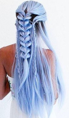 Pastellblau Ombré Lace Front Perücke - # types of Braids articles Grey Hair With Blue Highlights, Blue Grey Hair, Blue Wig, Ombre Hair Color, Blue Lace, Pink Wig, Blond Ombre, Brown Ombre Hair, Pastel Ombre