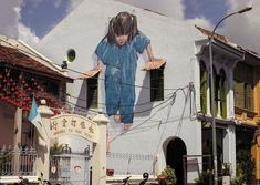 street-art-interacting-with-surroundings-Girl, George Town, Malaysia-Ernest Zacharevich George Town, Banksy, Street Art Utopia, Street Art Graffiti, Urban Street Art, Urban Art, Urbane Kunst, Interactive Walls, Graffiti Artwork