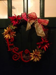 The FSU wreath I made! Just in time for football season!