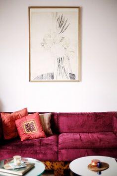 Bold velvet couch - Gorgeous!