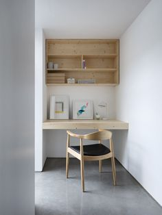 Custom built-ins provide functionality in every nook. Tagged: Office, Chair, Desk, Concrete Floor, and Shelves. Photo 10 of 12 in A Forgotten Warehouse Is Reborn Into a Light-Filled London Home Alcove Desk, Desk Nook, Office Nook, Office Set, Office Chairs, Room Chairs, Dining Chairs, Built In Desk, Built Ins