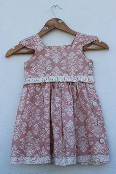 Vestido Boneca Rosê Arabesco Creme | Le Retrô