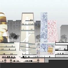 Les Halles - OMA Section diagram of an urban space. Different space usages are shown with different colors it seems.: