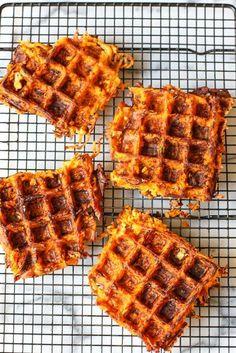 Sweet Potato Bacon Waffles *for scd use butternut squash Bacon Waffles, Savory Waffles, Sweet Potato Waffles, Sweet Potato Hash, Pancakes And Waffles, Healthy Waffles, Whole 30 Breakfast, Paleo Breakfast, Breakfast Recipes