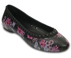 Attractive!  Called Lina Luxe ballet flats I think.  The design is  sleek, feminine, and a very pretty floral pattern.  Crocs cost a bit more than I like to spend, but the comfort level makes them worth the purchase, I plan to buy these soon.  Nice shoes, Croc.