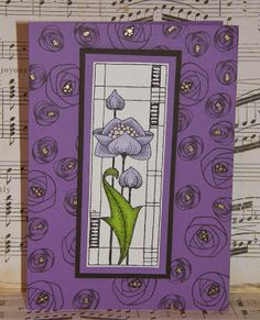 Chocolate Baroque Design Team: Purple Mackintosh Panel Card (by Debbie) Baroque Design, Baroque Art, Card Making Inspiration, Making Ideas, Flower Cards, Hobbies And Crafts, Paper Design, Your Cards, Cardmaking