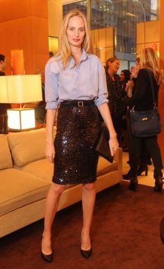 lauren santo domingo-Love this look-the sequin skirt with the blue oxford-preppy chic.