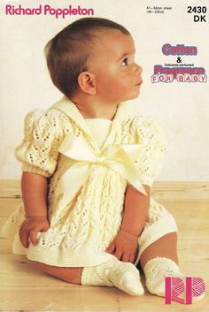 Digital vintage knitting pattern for a beautiful baby dress. sizes: 16-22 chest you will need DK ( US light worsted) yarn/wool, 3.25mm(US 3), 3.75mm(US 4) and 4mm(US 6) knitting needles tension stated: 26sts & 29 rows = 4 on 4mm needles see additional photos for yarn conversion chart as well as knitting needle conversion chart This pattern is an INSTANT DOWNLOAD pattern. You will receive an email immediately following your confirmed payment, which will include your download li...