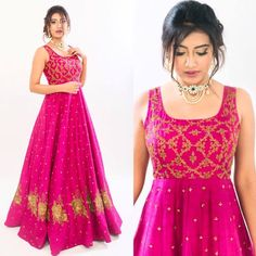 Beautiful pink color designer floor length anarkali dress with hand embroidery gold thread work.  Jewellery : Manjula Jewels 13 September 2017