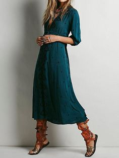 Shop Green Deep V Neck Embroidered Shift Dress online. SheIn offers Green  Deep V Neck Embroidered Shift Dress   more to fit your fashionable needs. 80ed5f3d3dde